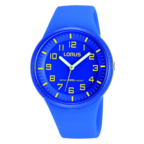 Lorus RRX51DX9 Kids Electric Blue Watch with Clear Yellow Arabic Numerals