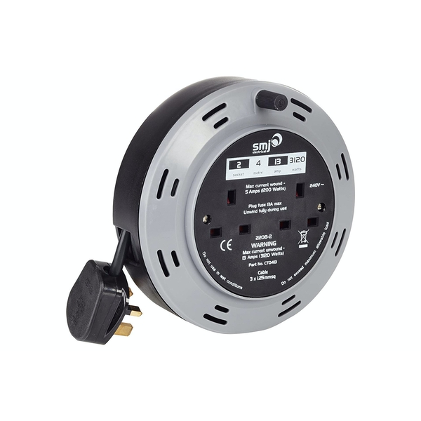 SMJ Electrical 4m 2 Socket Compact Extension Cable Reel UK Plug