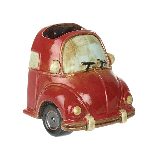 Ceramic VW Beetle Red Car Planter