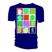 Doctor Who - Silhouette Grid Multi Blue Men's Large T-Shirt - Blue