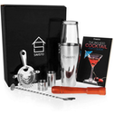 Savisto Premium 8 Piece Boston Cocktail Shaker & Recipe Book