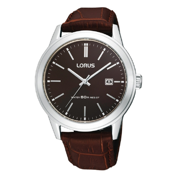 Lorus RH925BX9 Mens Polished Case Watch with Leather Strap