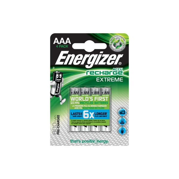 Energizer 4x AAA Rechargeable Extreme Ni-MH Batteries 800mAh