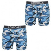 Lonsdale 2 Pack Mens Boxers Blue Camo Large
