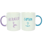 Pair of Captain and Mermaid Ceramic Mugs