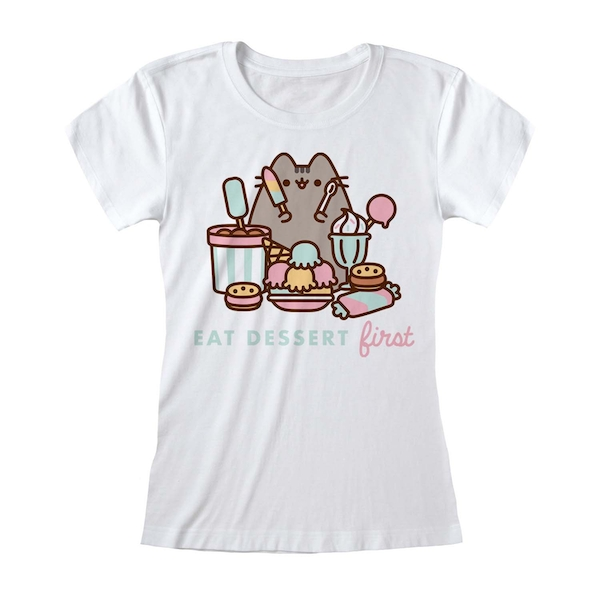 Pusheen - Eat Dessert First Women's Medium T-Shirt - White