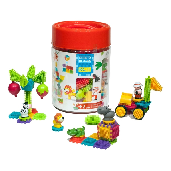 Seek'O Jungle Barrel with 5 Characters Building Blocks (100 Pieces)