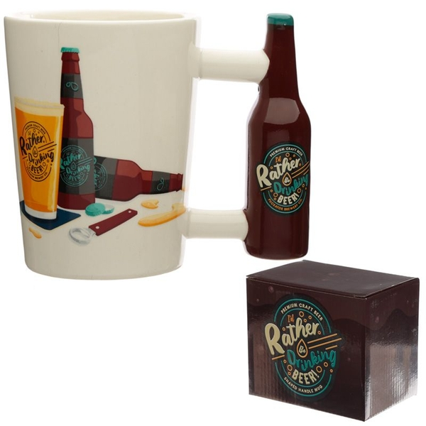 I'd Rather Be Drinking Beer Ceramic Shaped Handle Mug