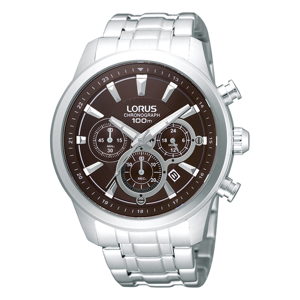 Lorus RT359AX9 Mens Chronograph Bracelet Watch with Dark Brown Dial