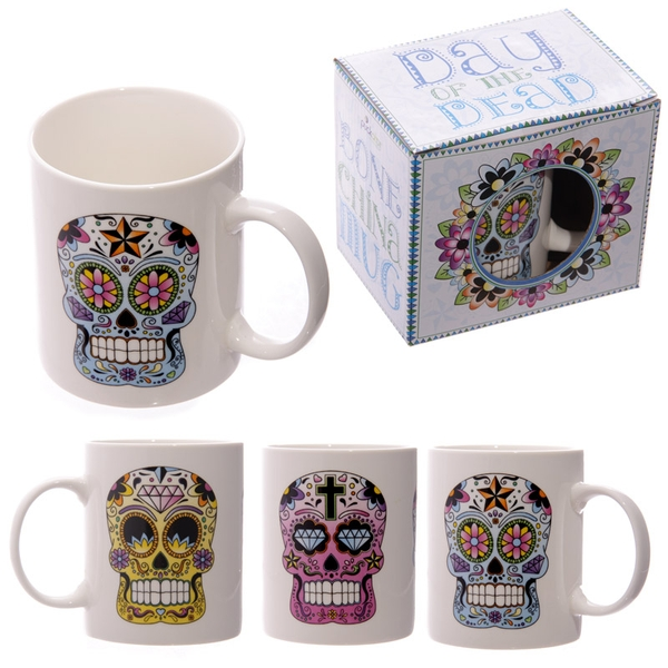 Candy Skulls Day of the Dead Design New Bone China Mug (1 Random Supplied)