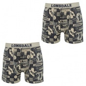 Lonsdale 2 Pack Mens Boxers Navy Boxing AOP Medium