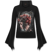 Queen of The Night High Neck Goth Women's Small Long Sleeve Top - Black