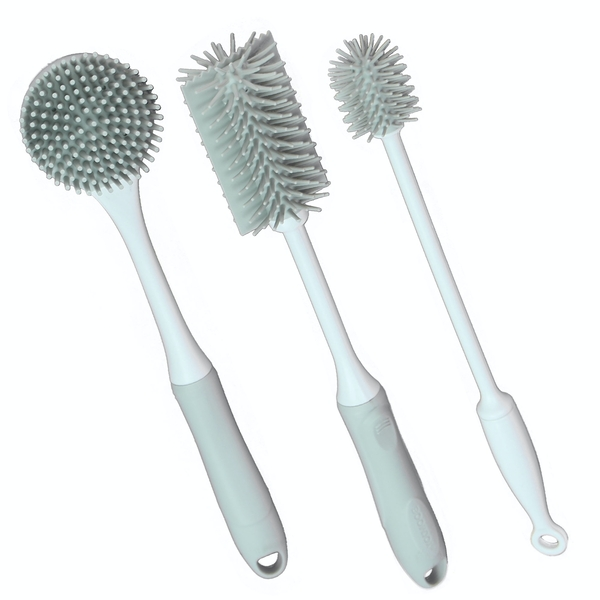 Grey Silicone Cleaning Brushes - Set of 3 | M&W
