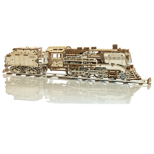 Wooden Express + Tender With Rails Wooden City 3D Wooden Model Kit
