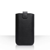 Caseflex Leather-Effect Auto Return Pull Tab Pouch (M) - Black