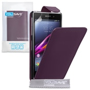 YouSave Accessories Sony Xperia Z1 Leather-Effect Flip Case - Purple