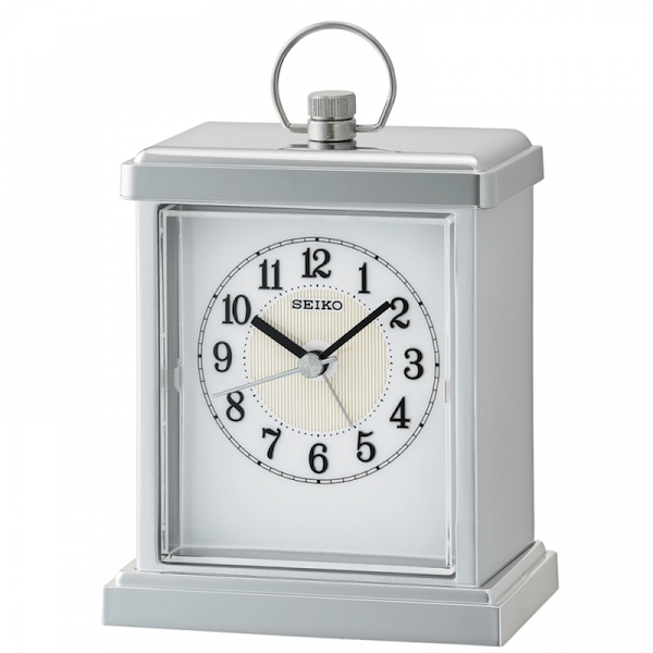 Seiko QHE148S Sweep Second Hand Beep Alarm Clock with Silver Case
