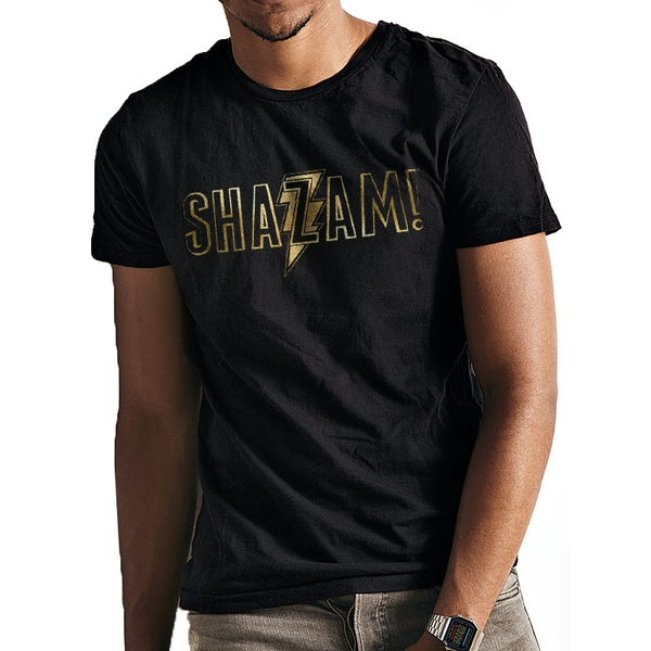 Shazam Movie - Gold Foil Logo Men's XX-Large T-Shirt - Black