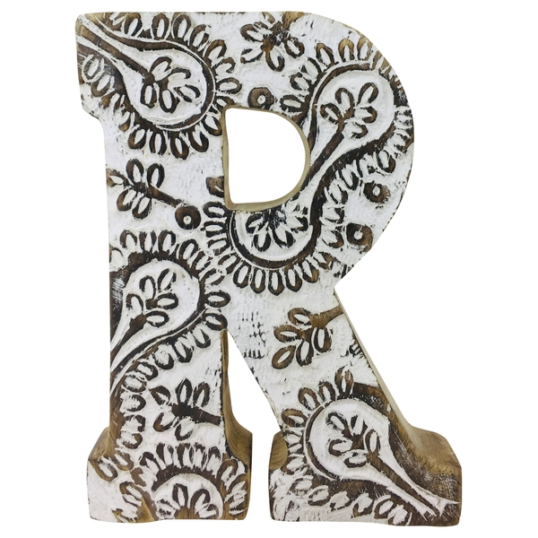 Letter R Hand Carved Wooden White Flower