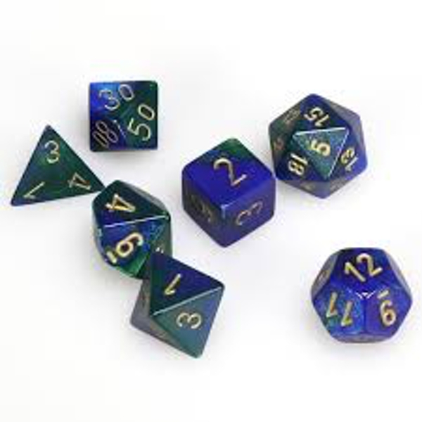 Chessex Gemini Poly 7 Set: Blue - Green/Gold