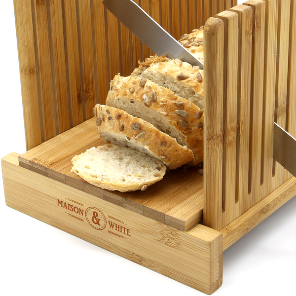 Bamboo Bread Slicer Guide With Crumb Catcher | M&W - Image 3