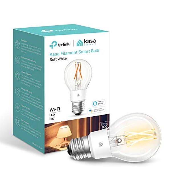Kasa Smart Bulb by TP-Link, WiFi Filament Light Bulb, E27, 7W(60W equiv.), No Hub Required, Works with Alexa (Echo and Echo Dot) and Google Home, Dimmable Soft Warm White (KL50)