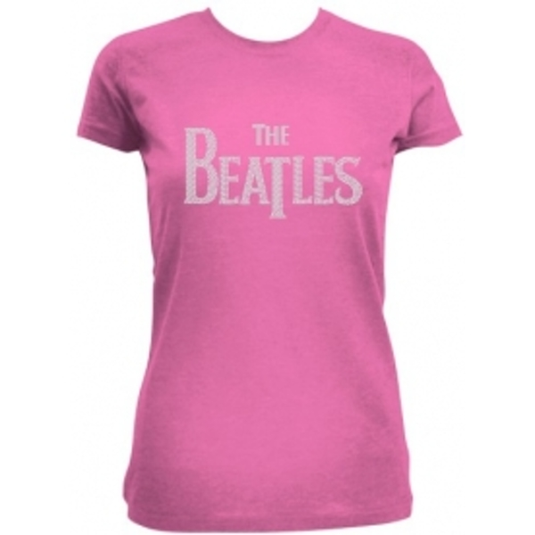 The Beatles Drop T Rhinestones Pink Ladies TS: Small