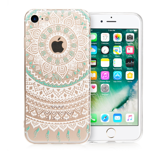 outlet store 47cdd 1b967 YouSave iPhone 7 Mandala Printed Gel Case - Turquoise/White ...