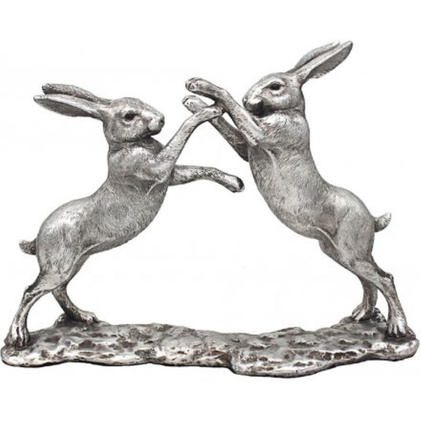 Reflections Silver Hares On Base Figurine By Leonardo