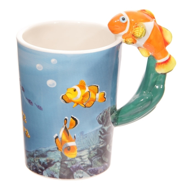 Clown Fish Shaped Handle Ceramic Mug
