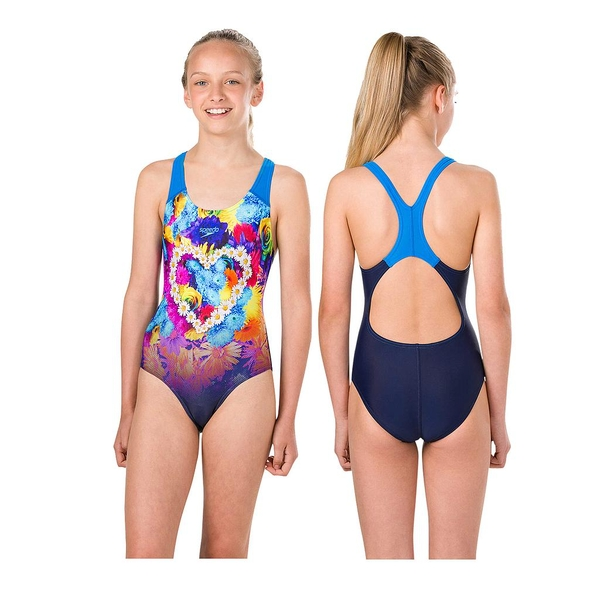 Speedo HippyHop Splashback Swimsuit Teen Navy/Aqua/Orange 32""
