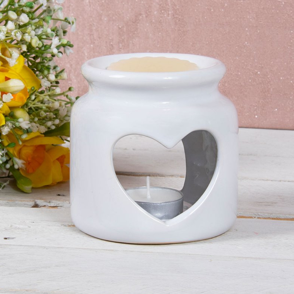Ceramic White Heart Wax/oil Warmer by Lesser & Pavey