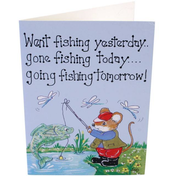 Pack of 6 Went Fishing Yesterday Smiley Cards