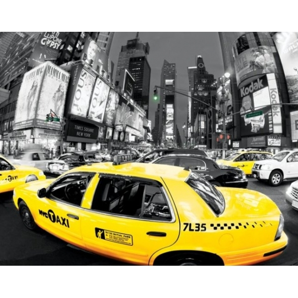 Rush Hour - Times Square - (yellow Cabs) Mini Poster
