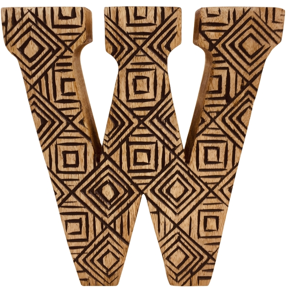Letter W Hand Carved Wooden Geometric
