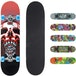 Xootz Kids Complete Beginners Double Kick Trick Skateboard Maple Deck - 31 x 8 Inches Skull - Image 3