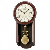 Seiko QXH063B Westminster/Whittington Dual Chime Wall Clock with Pendulam Brown