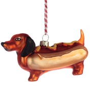 Fast Food Hot Dog Sausage Dog Glass Christmas Bauble Decoration