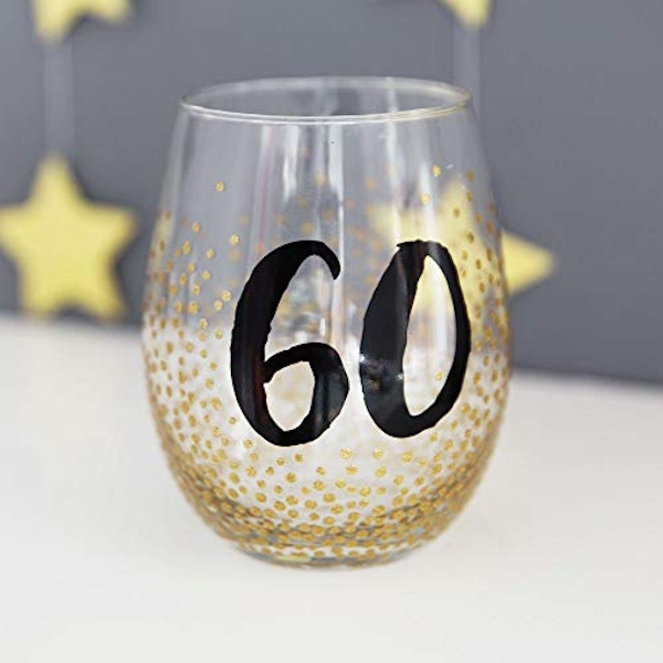 Signography Stemless Wine Glass with Gold Glitter - 60