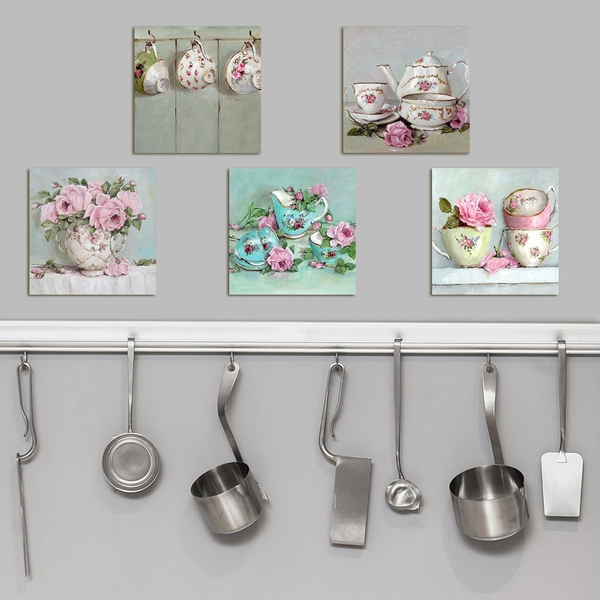 UTB039 Pink Blue Green Decorative MDF Painting (5 Pieces)
