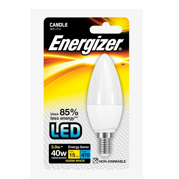 Energizer E14 Warm White Blister Pack Candle 5.2w 470lm