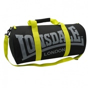 Lonsdale Barrel Bag Charcoal & Lime