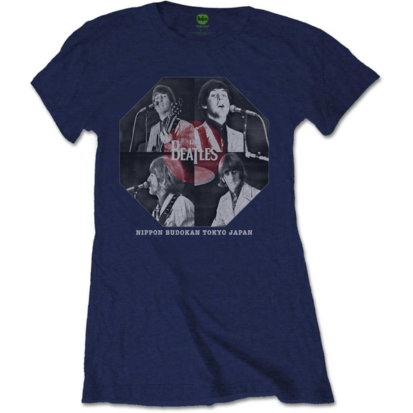 The Beatles - Budokan Octagon Women's Large T-Shirt - Navy Blue