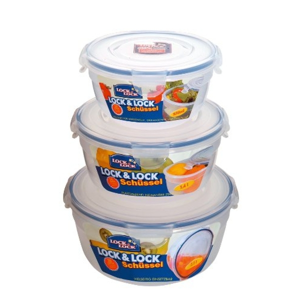 Lock & Lock Lidded Bowls Container Set (Set of 3, 800ml, 1.4L, 2.1L)
