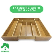 Bamboo Extending Cutlery Drawer Tray With Adjustable Compartments | M&W