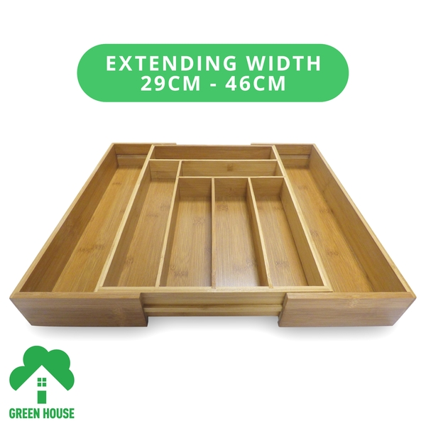 Bamboo Extending Cutlery Drawer Tray With Adjustable Compartments Green House