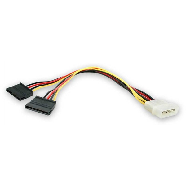 Image of StarTech 12in LP4 to 2x SATA Power Y Cable Adapter