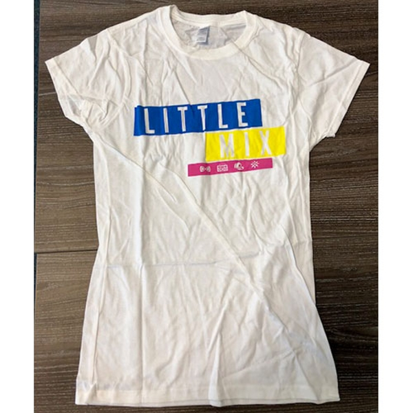 Little Mix - Logo Blue/Yellow/Pink Women's Large T-Shirt - White