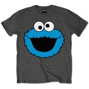 Sesame Street Cookie Head Mens Charcoal T Shirt: Medium