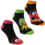 Disney Muppets 3 Pack Trainer Sock UK Size 7-11 (Black)